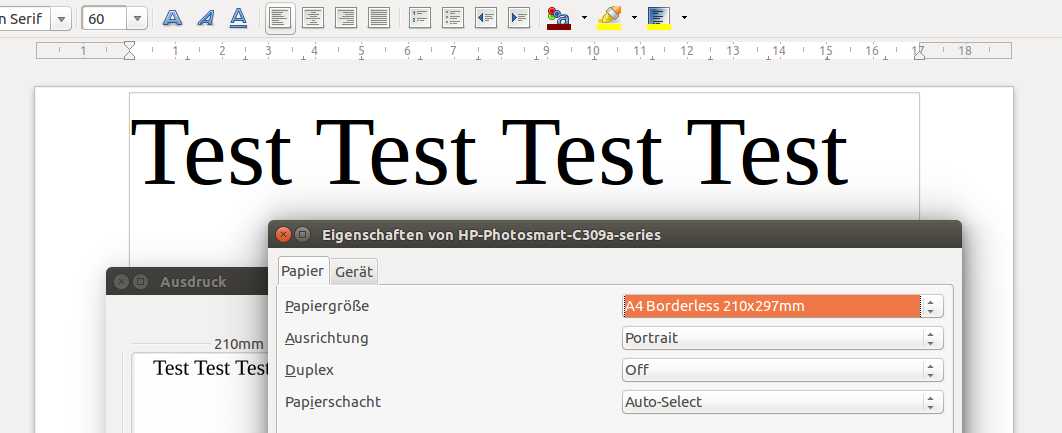 LibreOffice: Borderless printing not possible with hp driver