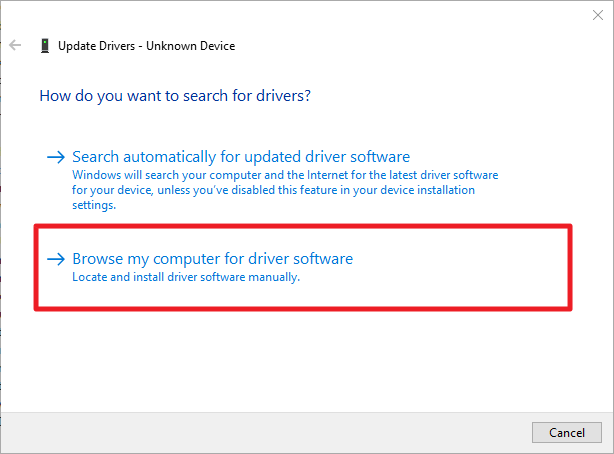 "Click ""Browse my computer for driver software"""
