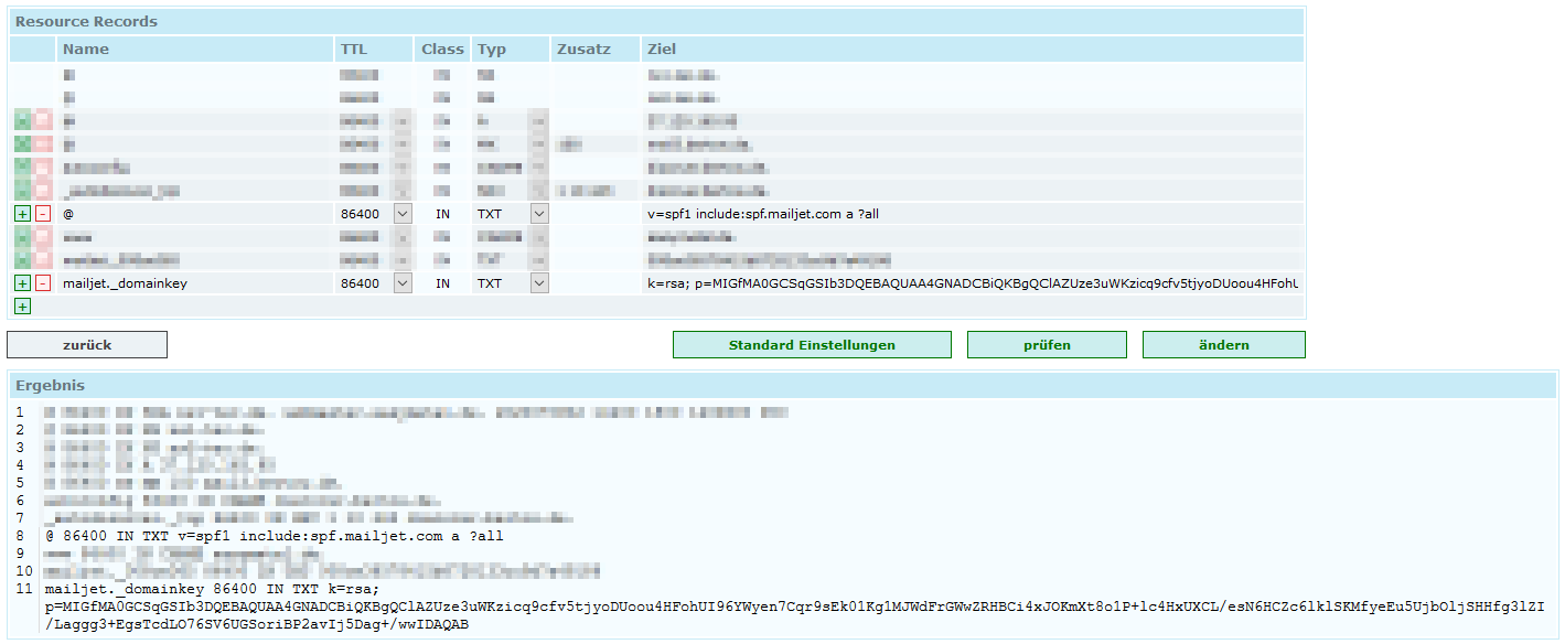 Example for DNS SPF/DKIM TXT records