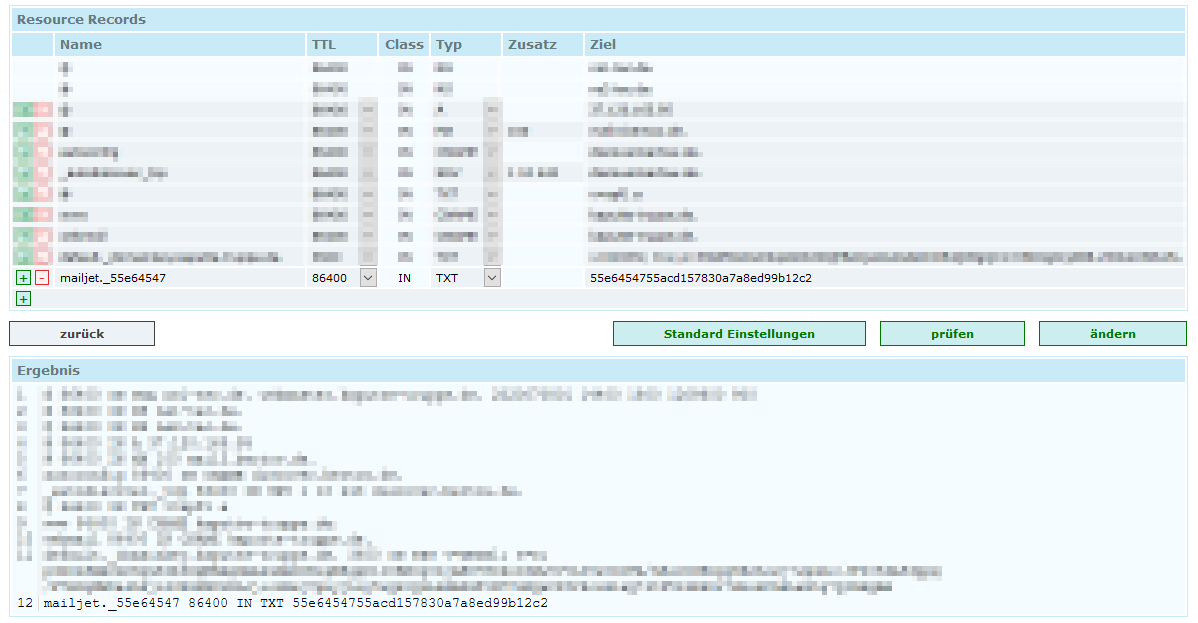 Example for DNS TXT record